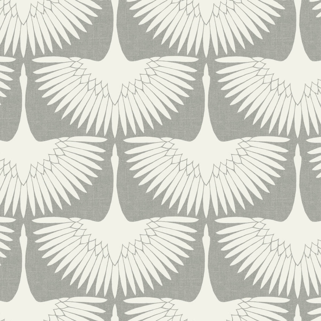 Sample Feather Flock Self Adhesive Wallpaper in Chalk by Genevieve Gorder for Tempaper