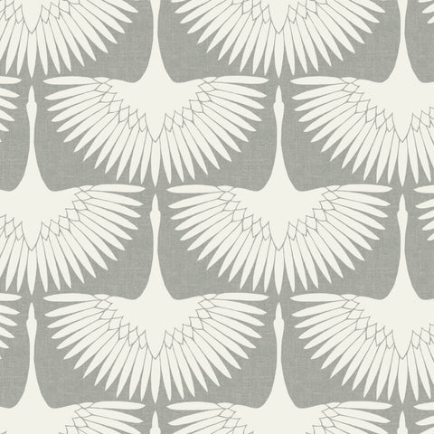 Feather Flock Self Adhesive Wallpaper in Chalk by Genevieve Gorder for Tempaper