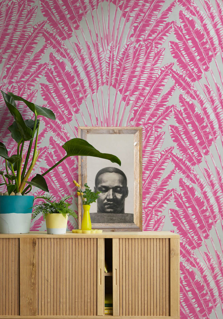 Feather Palm Wallpaper in Pink Breeze from the Kingdom Home Collection by Milton & King