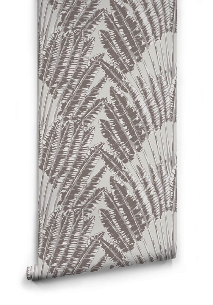 Sample Feather Palm Wallpaper in Rock Face from the Kingdom Home Collection by Milton & King