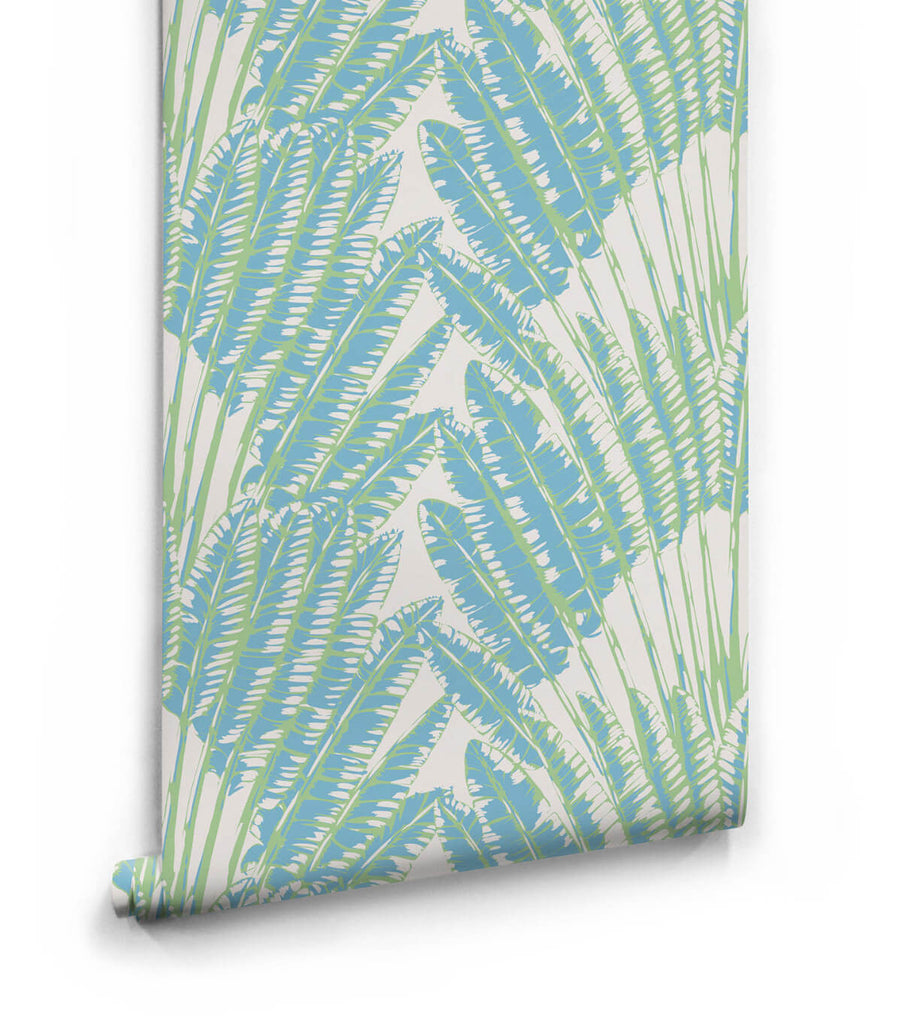 Feather Palm Wallpaper in Sea Breeze from the Kingdom Home Collection by Milton & King
