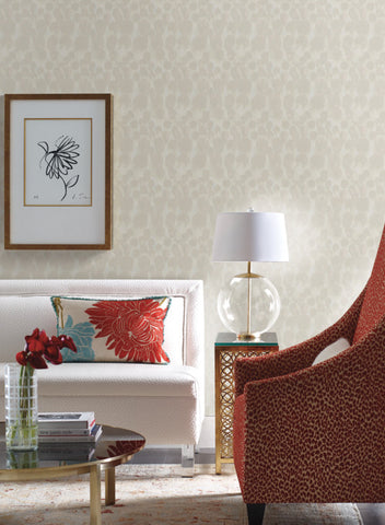 Feathers Wallpaper in Beige from the Natural Opalescence Collection by Antonina Vella for York Wallcoverings