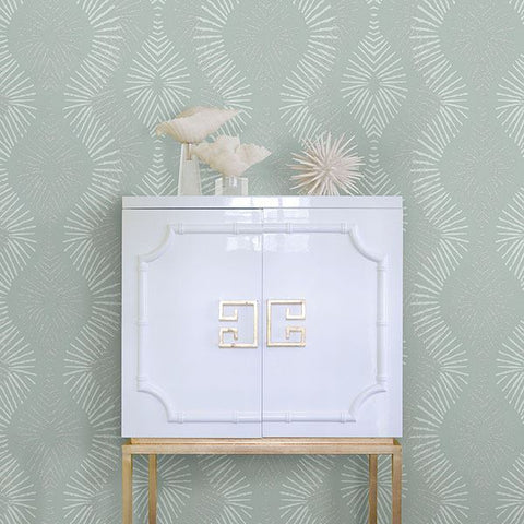 Feliz Beaded Ogee Wallpaper in Seafoam from the Celadon Collection by Brewster Home Fashions