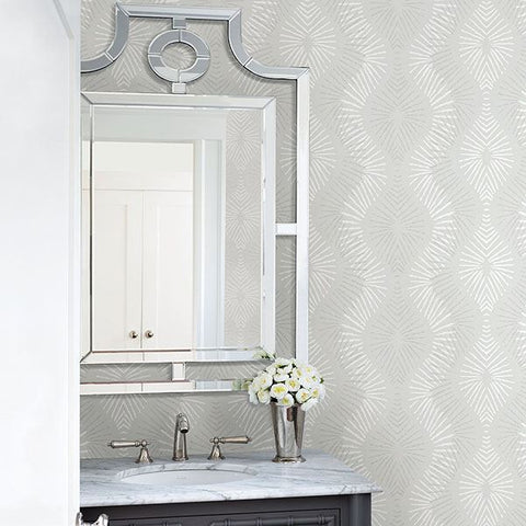 Feliz Beaded Ogee Wallpaper in Silver from the Celadon Collection by Brewster Home Fashions