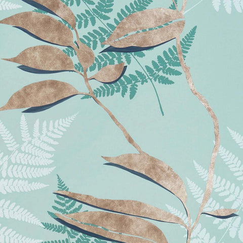 Feuille D'or Wallpaper in Aqua and Copper from the Folium Collection by Osborne & Little