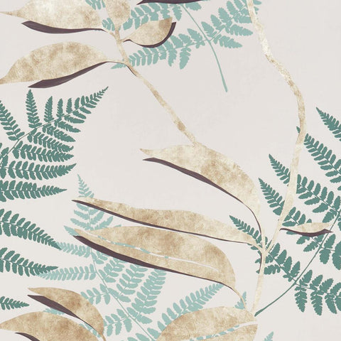 Feuille D'or Wallpaper in Pebble and Gold from the Folium Collection by Osborne & Little