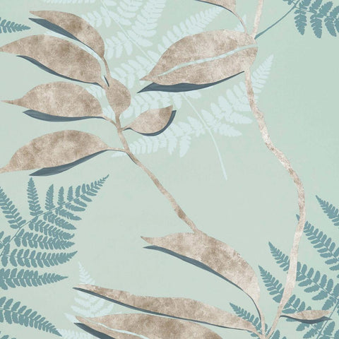 Feuille D'or Wallpaper in Sage and Gold from the Folium Collection by Osborne & Little