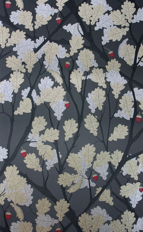 Feuille de Chene Wallpaper in Black and Gilver from the Cabochon Collection by Osborne & Little