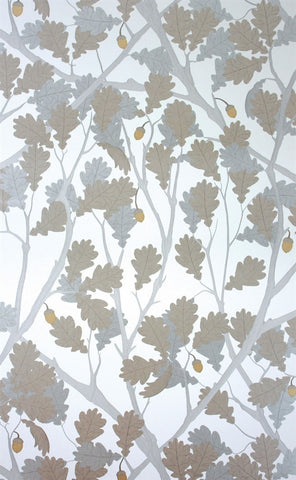 Feuille de Chene Wallpaper in Ivory and Gilver from the Cabochon Collection by Osborne & Little