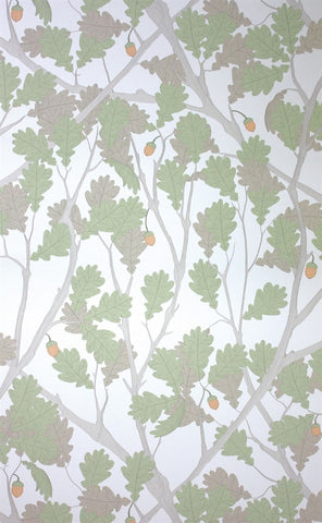 Feuille de Chene Wallpaper in Ivory and Pistachio from the Cabochon Collection by Osborne & Little