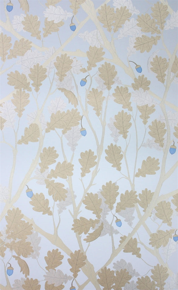 Feuille de Chene Wallpaper in Sapphire and Gilver from the Cabochon Collection by Osborne & Little