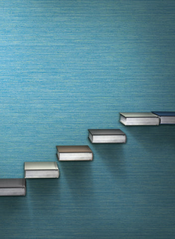Fine Line Wallpaper in Blue from the Design Digest Collection by York Wallcoverings