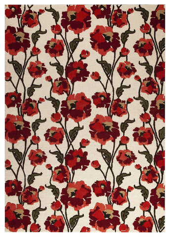 Fiore Collection Hand Tufted Wool Area Rug in White and Red design by Mat the Basics