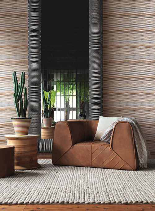 Fireworks Wallpaper in Cream and Grey by Missoni Home for York Wallcoverings