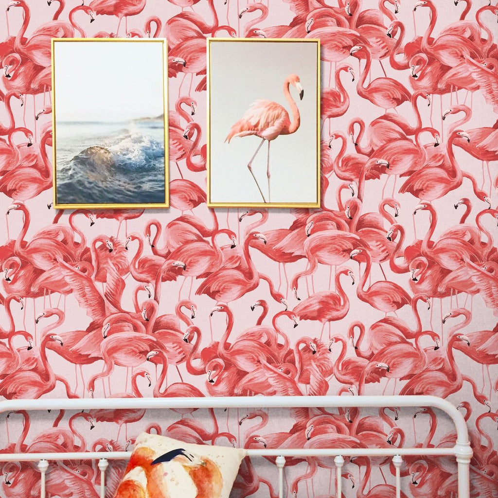 Flamingo Self-Adhesive Wallpaper (Single Roll) in Cheeky Pink by Tempaper