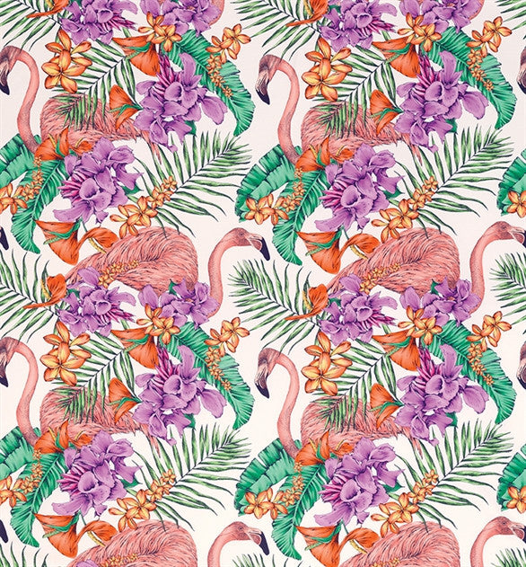 Flamingo Club Fabric in Ivory and Fuchsia by Matthew Williamson for Osborne & Little