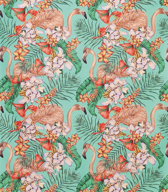 Sample Flamingo Club Fabric in Jade, Peach, and Coral by Matthew Williamson for Osborne & Little