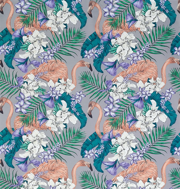 Sample Flamingo Club Fabric in Lavender and Ivory by Matthew Williamson for Osborne & Little