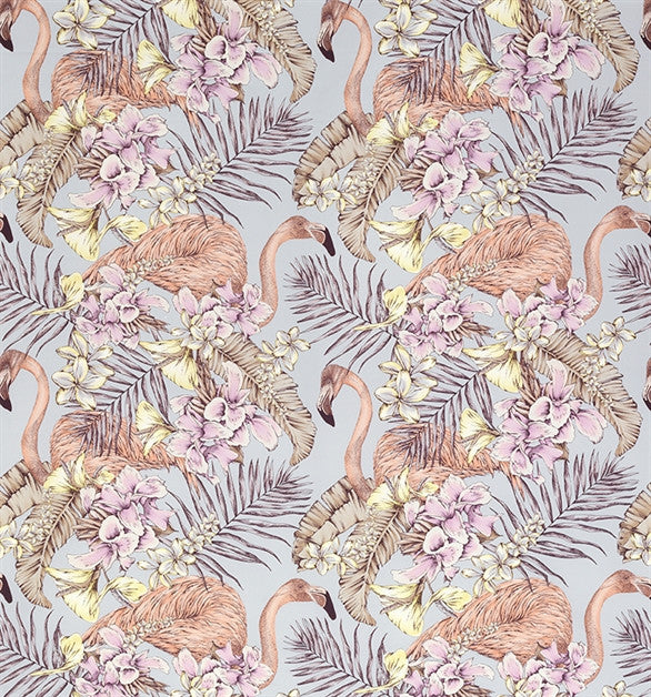 Sample Flamingo Club Fabric in Silver and Lilac by Matthew Williamson for Osborne & Little