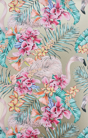 Flamingo Club Wallpaper in Antique Gold by Matthew Williamson for Osborne & Little
