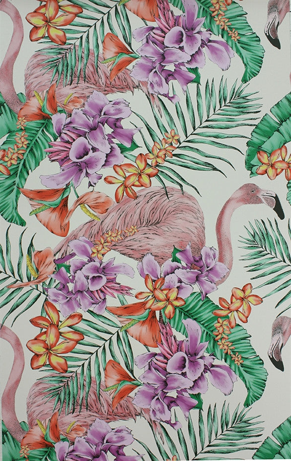 Flamingo Club Wallpaper in Ivory and Fuchsia by Matthew Williamson for Osborne & Little