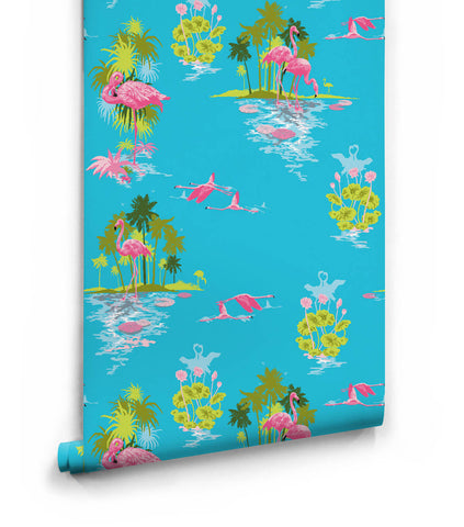 Flamingo Wallpaper in Day from the Kingdom Home Collection by Milton & King