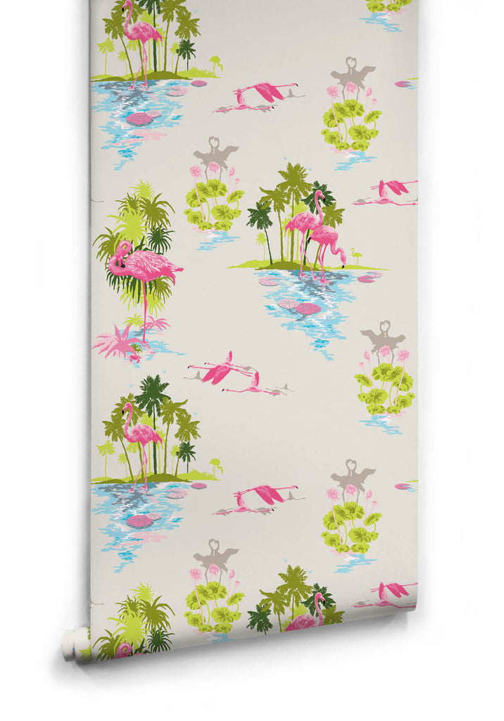 Sample Flamingo Wallpaper in Dusk from the Kingdom Home Collection by Milton & King