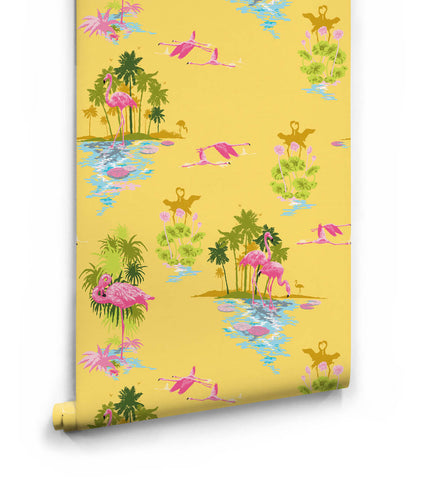 Flamingo Wallpaper in Sunrise from the Kingdom Home Collection by Milton & King