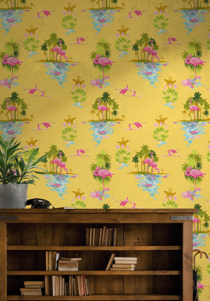 Flamingo wallpaper in sunrise from the kingdom home for Home wallpaper collection