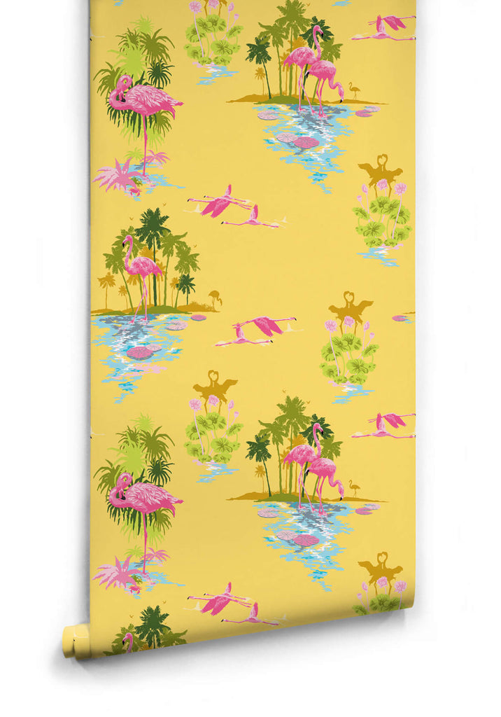 Sample Flamingo Wallpaper in Sunrise from the Kingdom Home Collection by Milton & King