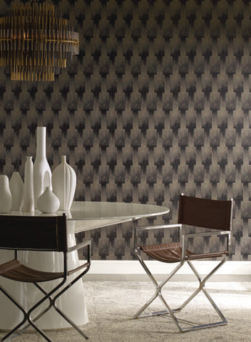 Flapper Wallpaper in Blacks and Off-White from the Deco Collection by Antonina Vella for York Wallcoverings