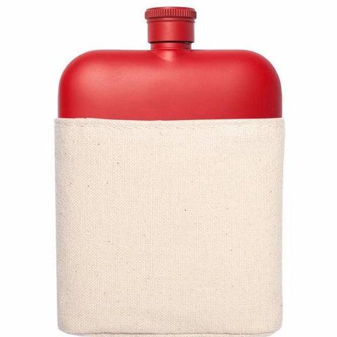 Red 6oz Flask w/ Canvas Carrier design by Izola