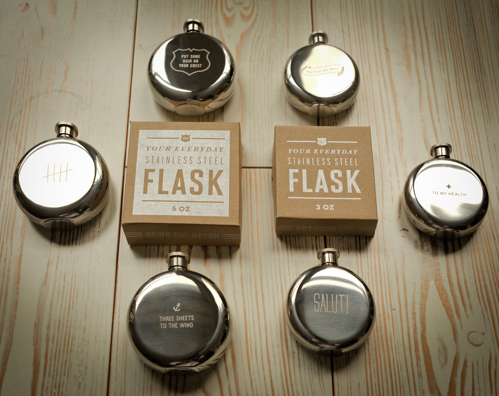 Put Some Hair on Your Chest 5 oz. Flask design by Izola