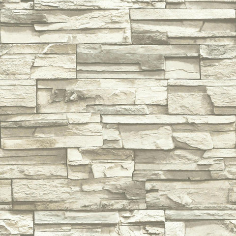 Flat Stone Peel & Stick Wallpaper in Grey by RoomMates for York Wallcoverings