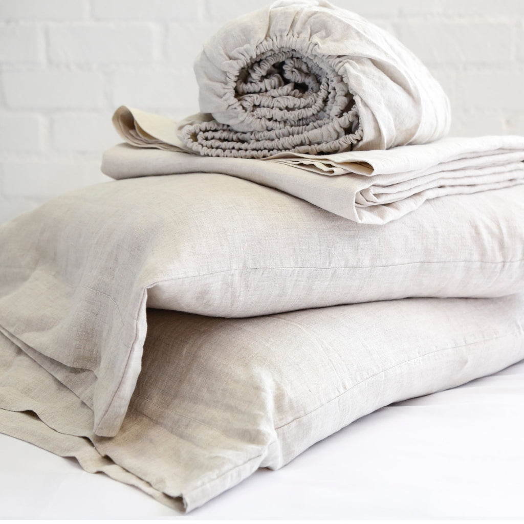Linen Sheet Set in Flax by Pom Pom at Home