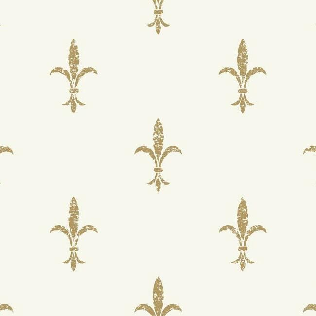 Sample Fleur De Lis Wallpaper in White and Gold from the Ronald Redding 24 Karat Collection by York Wallcoverings