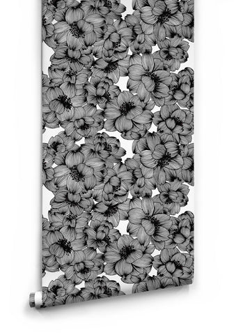 Sample Flora Boutique Wallpaper in Original Black by Milton & King