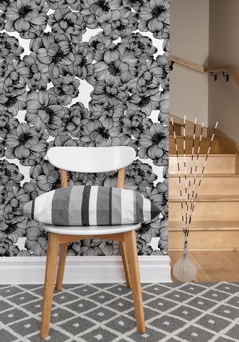 Flora Boutique Wallpaper in Original Black by Milton & King