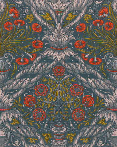 Floral Ornament Wallpaper in Scarlet from the Wallpaper Compendium Collection by Mind the Gap