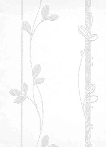 Floral 2 Paintable Wallpaper in White design by BD Wall