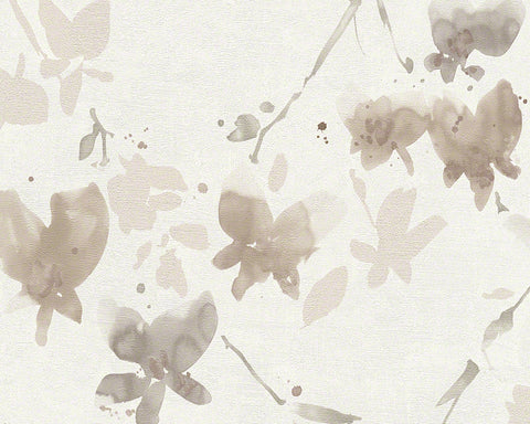 Floral Blossom Wallpaper in Ivory and Brown design by BD Wall
