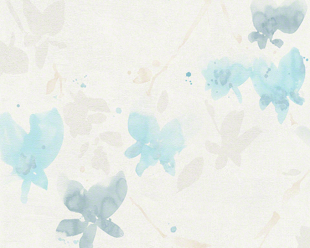 Sample Floral Blossom Wallpaper in Ivory and Light Blue design by BD Wall