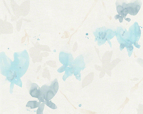 Floral Blossom Wallpaper in Ivory and Light Blue design by BD Wall