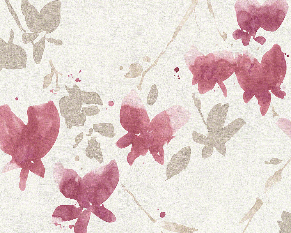 Sample Floral Blossom Wallpaper in Ivory and Red design by BD Wall