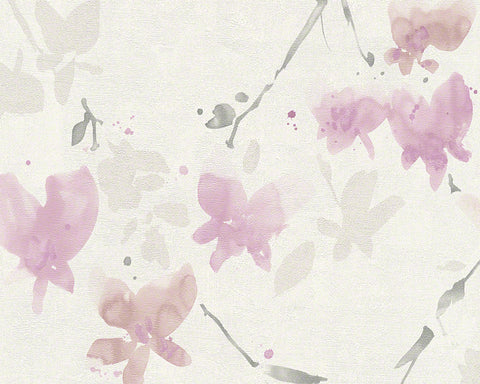 Floral Blossom Wallpaper in Ivory and Rose design by BD Wall