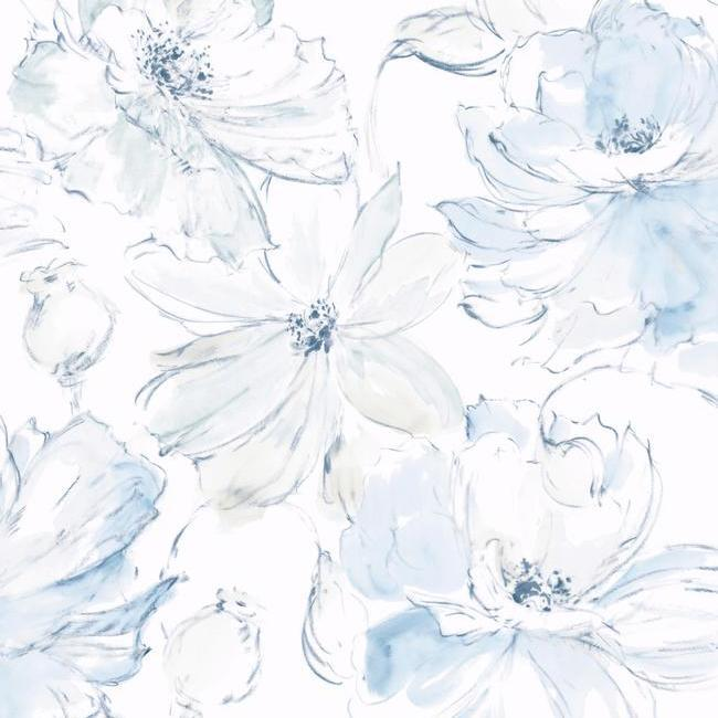 Floral Dreams Wallpaper in Blue from the Impressionist Collection by York Wallcoverings