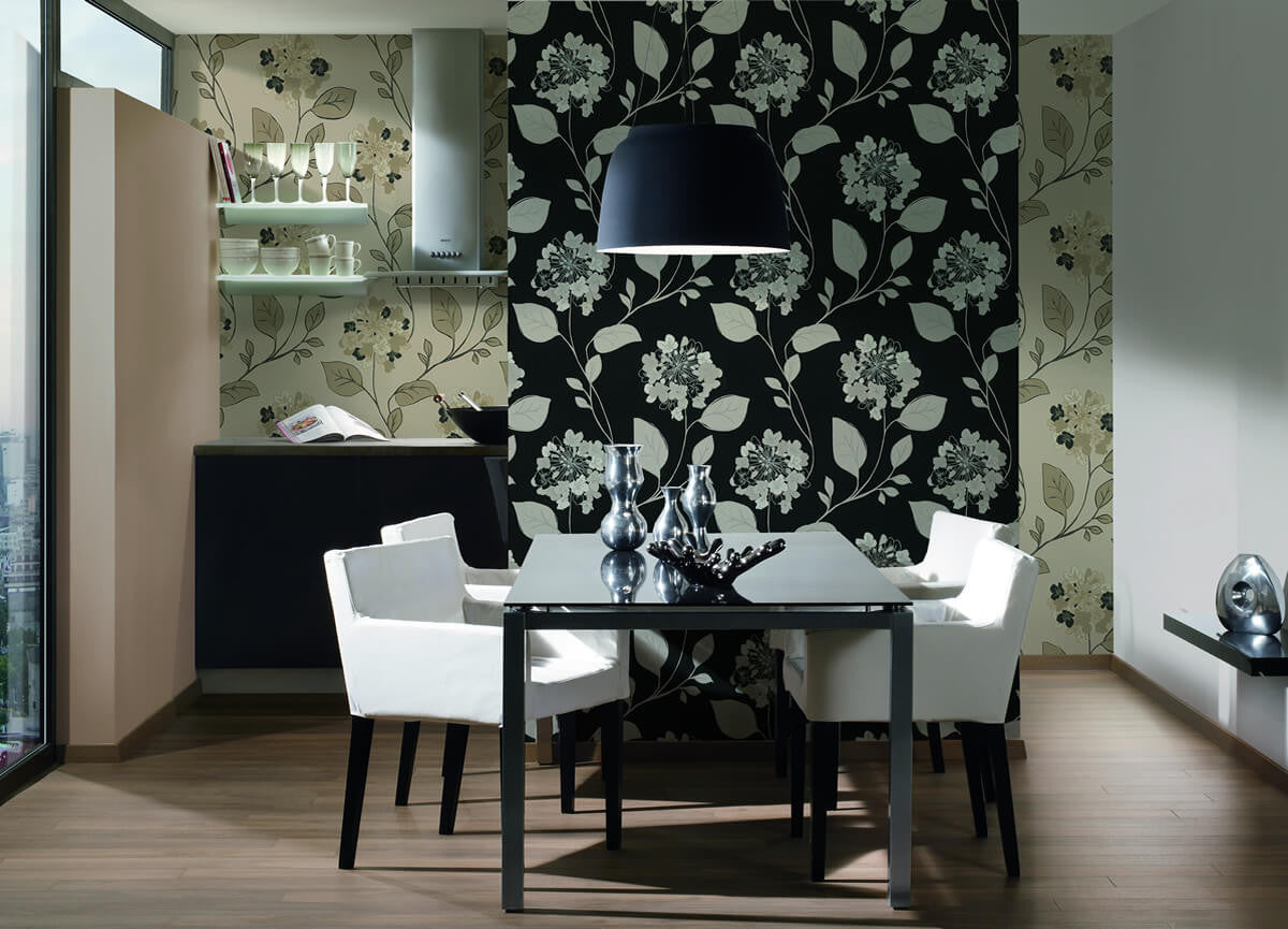 Floral Modern Nature Wallpaper In Beige And Blue Design By Bd Wall