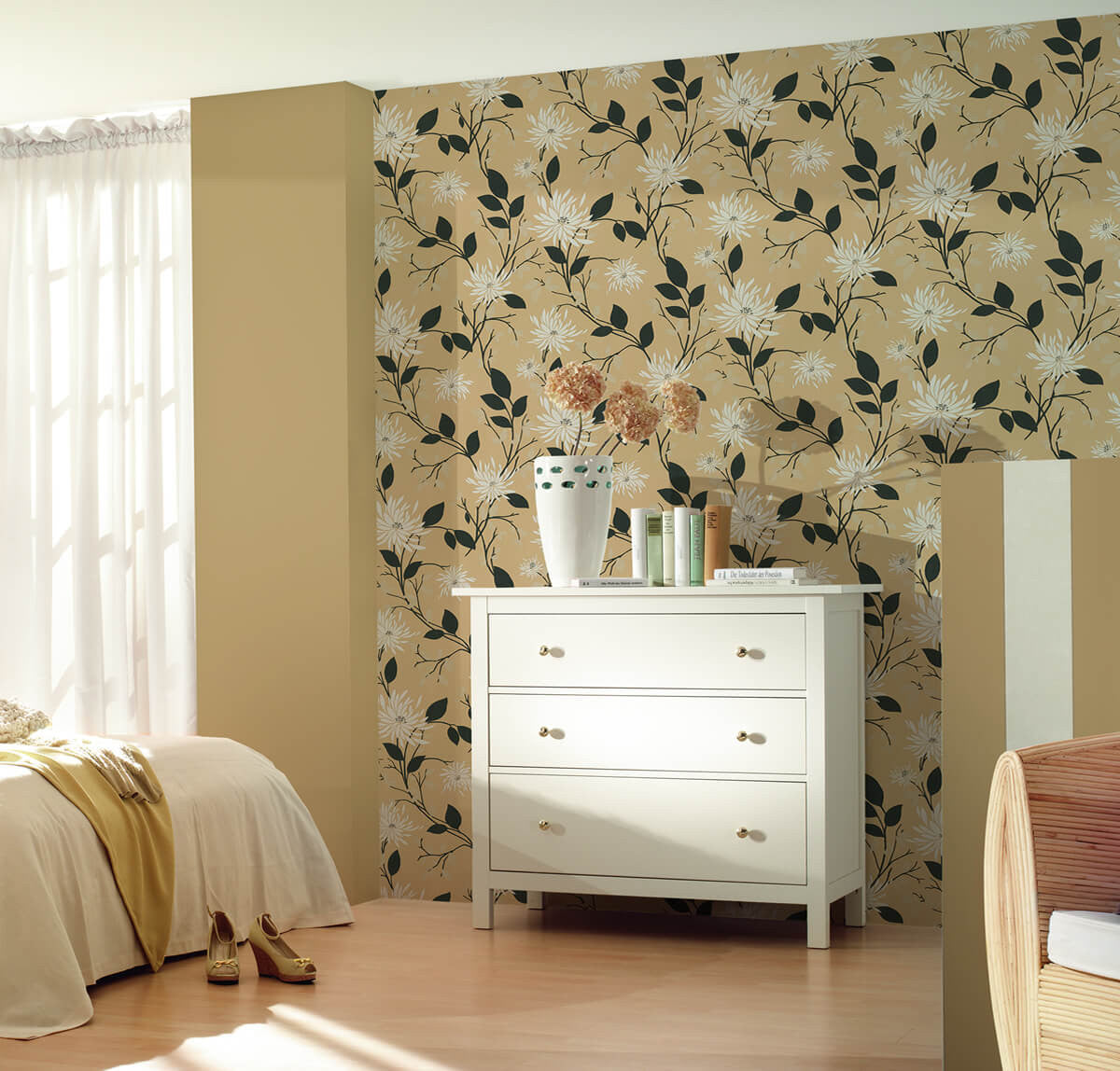. Floral Modern Nature Wallpaper in Grey and Cream design by BD Wall