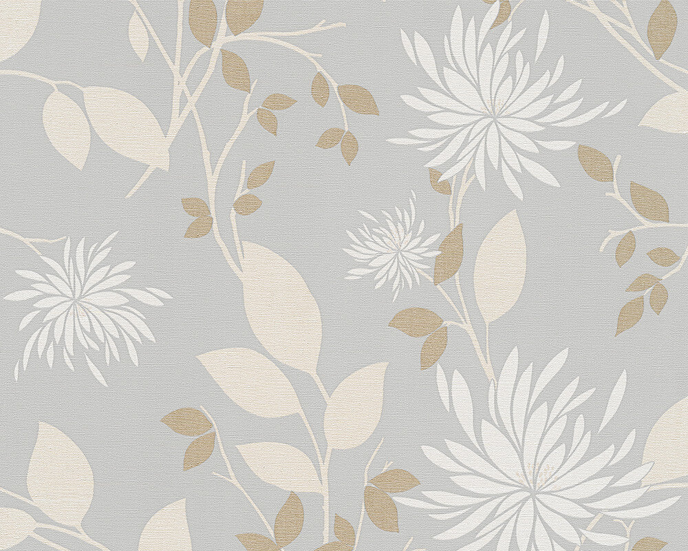 Floral modern nature wallpaper in grey and cream design by for Grey and cream wallpaper