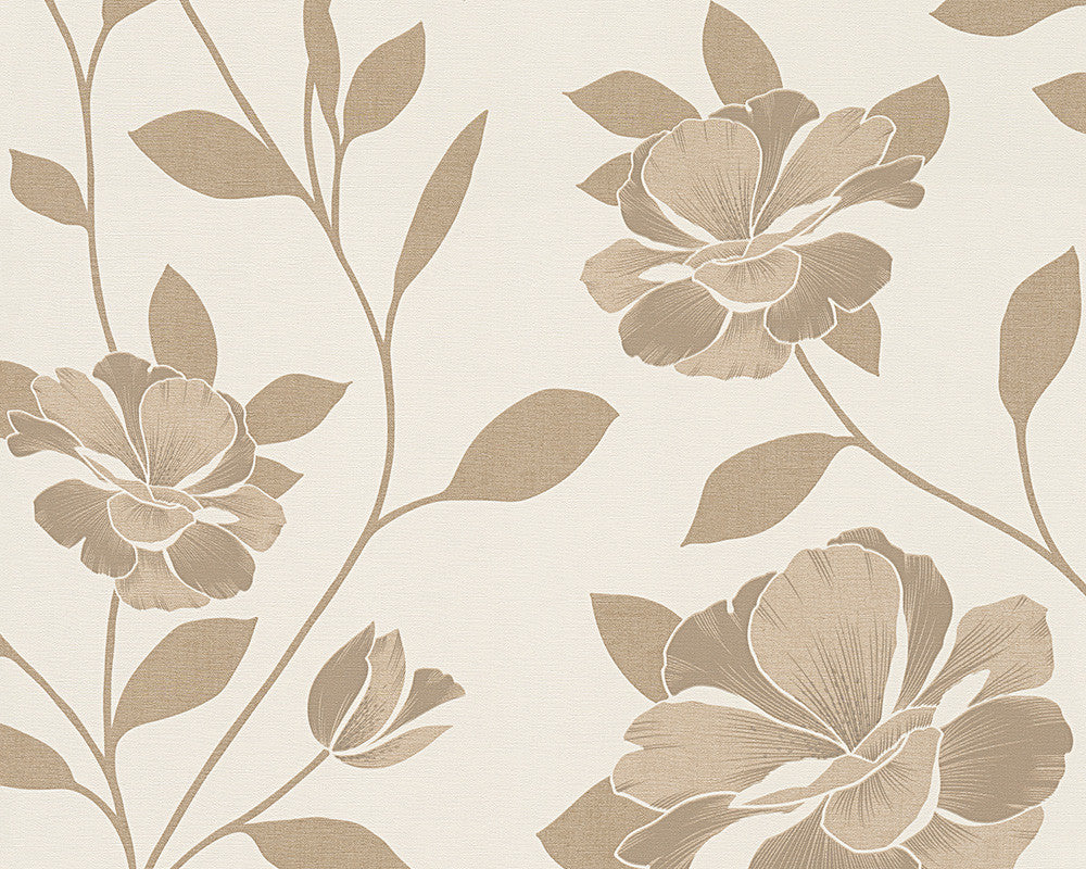 Floral Modern Nature Wallpaper In Brown And Cream Design By BD Wall